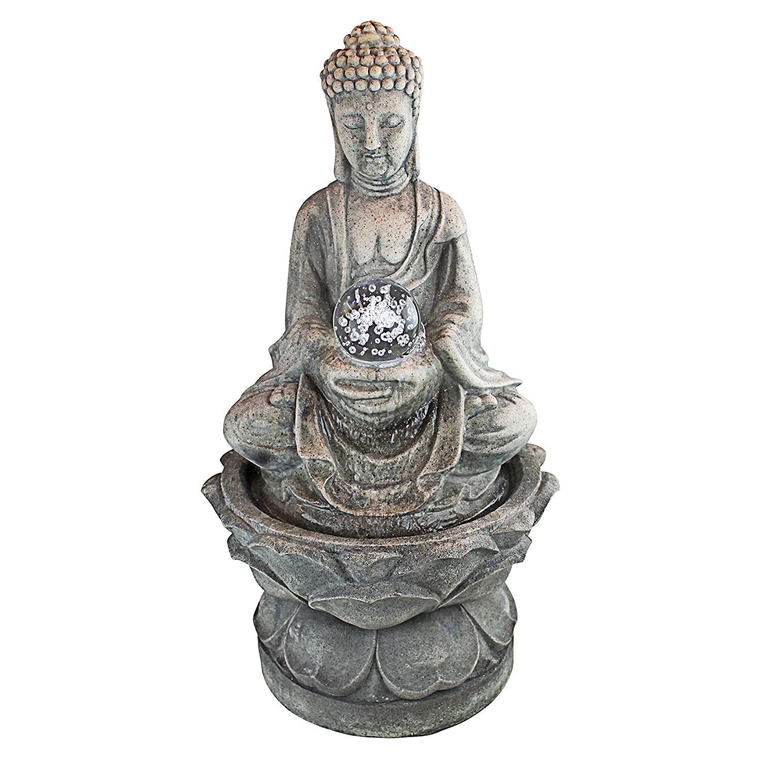 Design Toscano Spiritual Serenity Spinning Crystal Ball Buddha Table Top Water Feature with LED Lights, Greystone