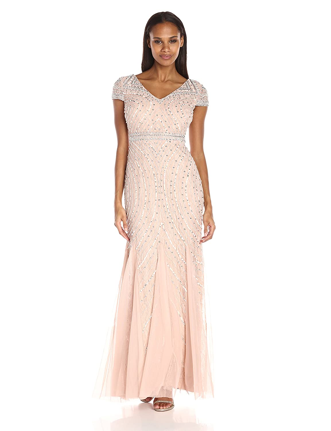 Papell Women\'s Cap Sleeve Beaded Lace Godet Gown | eBay