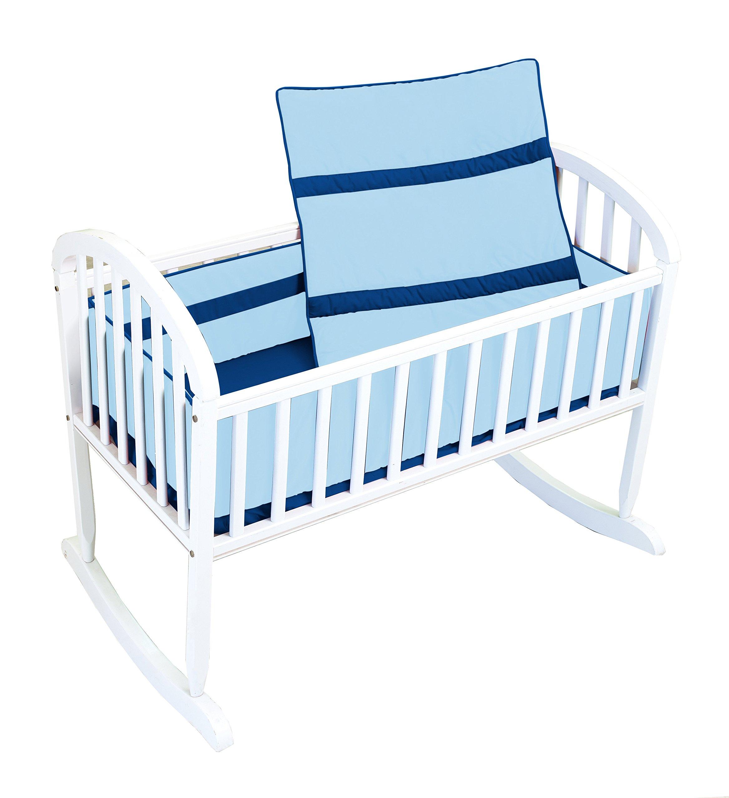 Baby Doll Bedding Solid Stripe Cradle Bedding Set, Light Blue/Royal Blue