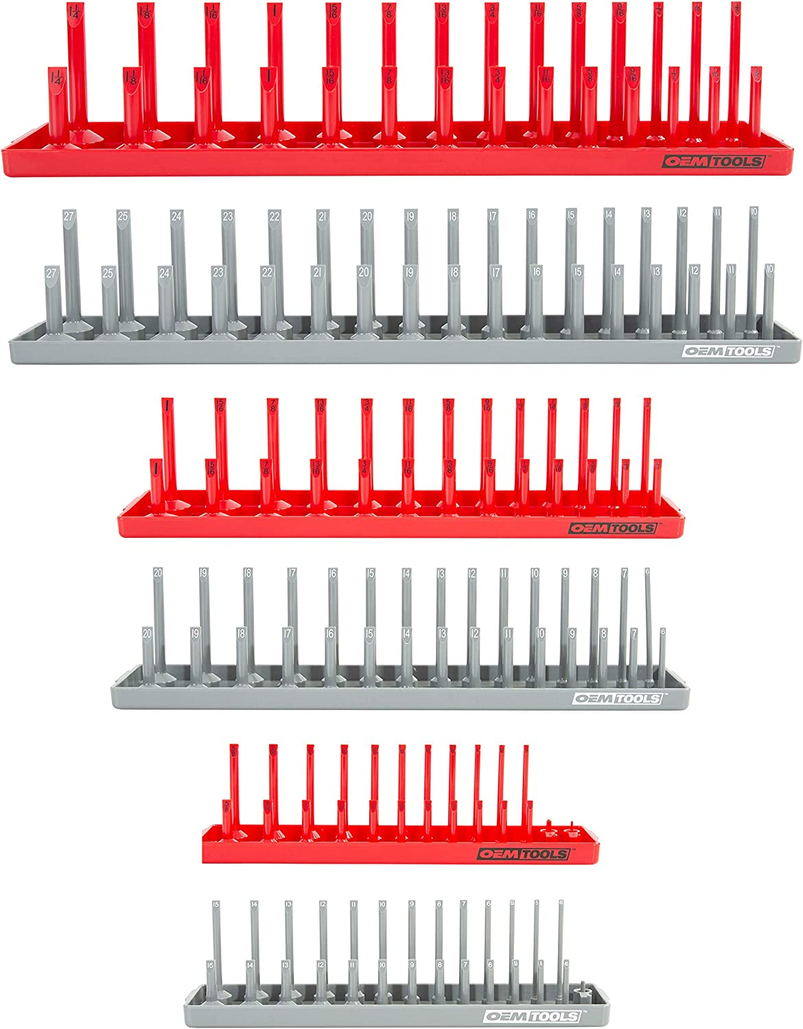 """Holds 28 Sockets Vertical with Size Numbers-Red 1//4/"""" Drive Socket Holder"""