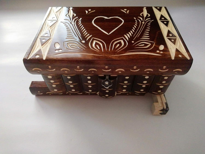 Nueva corazón marrón especial hermosa caja mágica, misteriosa caja, caja puzzle , caja secreta, hecha a mano, casilla complicado, caja de madera tallada, regalo perfecto, juguete de madera: Amazon.es: Handmade