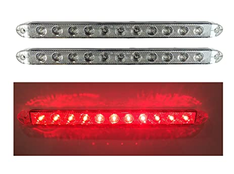 2 NEW 16u0026quot; CLEAR RED LED SLIM LOW PROFILE SURFACE MOUNT STOP TURN TAIL  LIGHTS