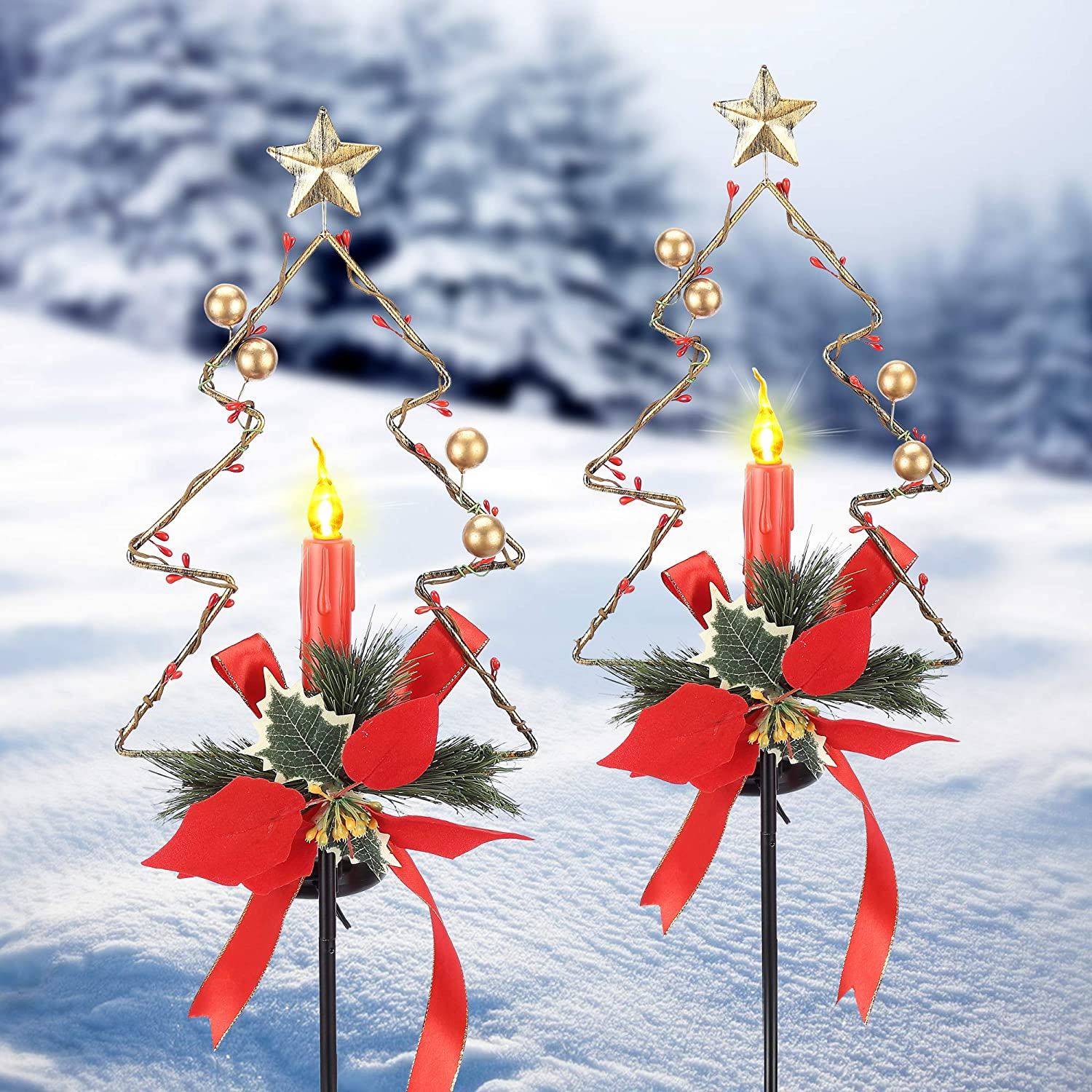 Litake [2Pack] Solar Powered Christmas Decorations Outdoor Pathway Lights, Waterproof LED Candle Xmas Garden Stakes Ground Lights, Sidewalk Landscape Lights Lawn Yard Holiday Ornament