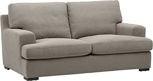 Stone Beam Lauren Down-Filled Oversized Loveseat with Hardwood Frame, 74 W, Slate