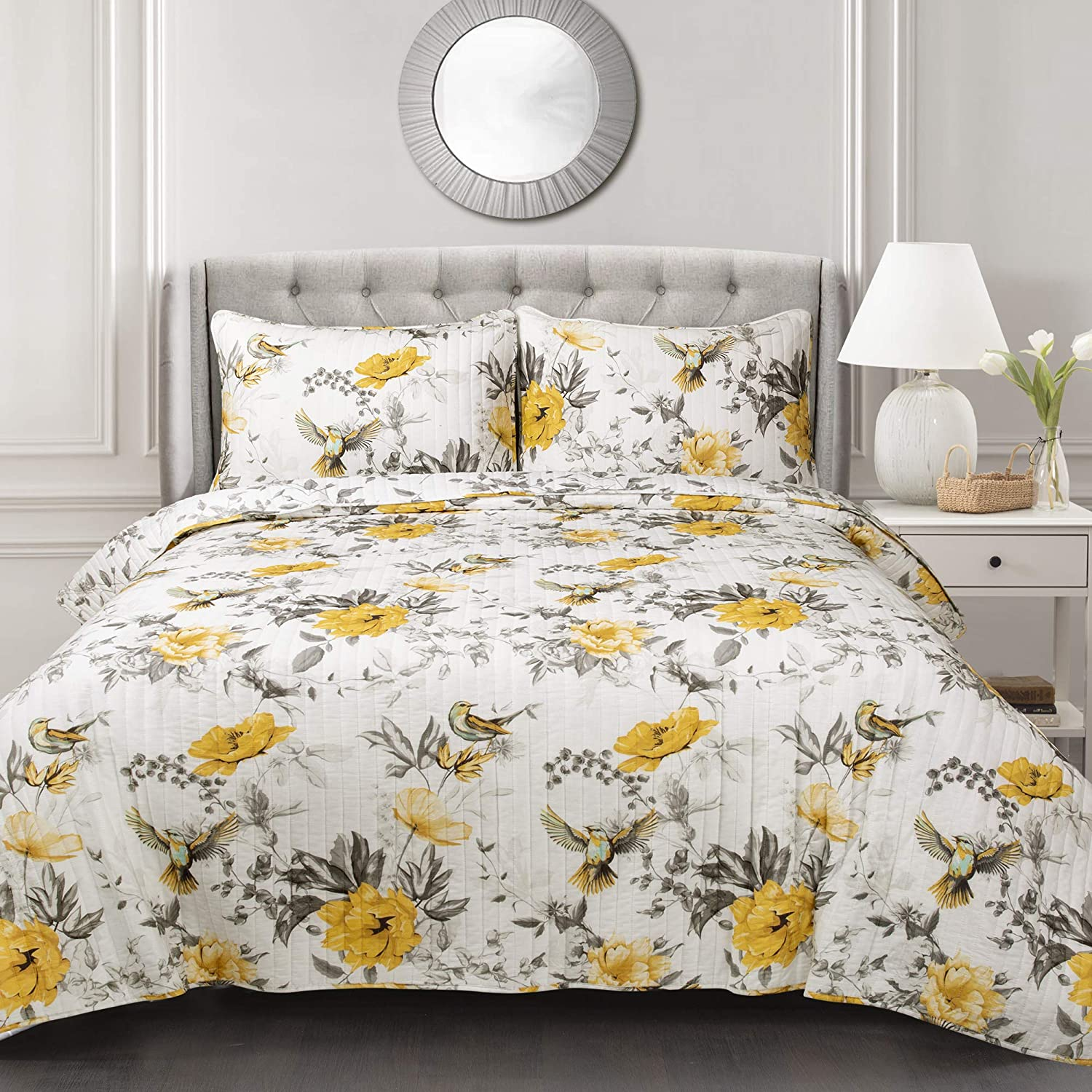 Lush Decor, Yellow & Gray Penrose Floral 3 Piece Quilt Set, King