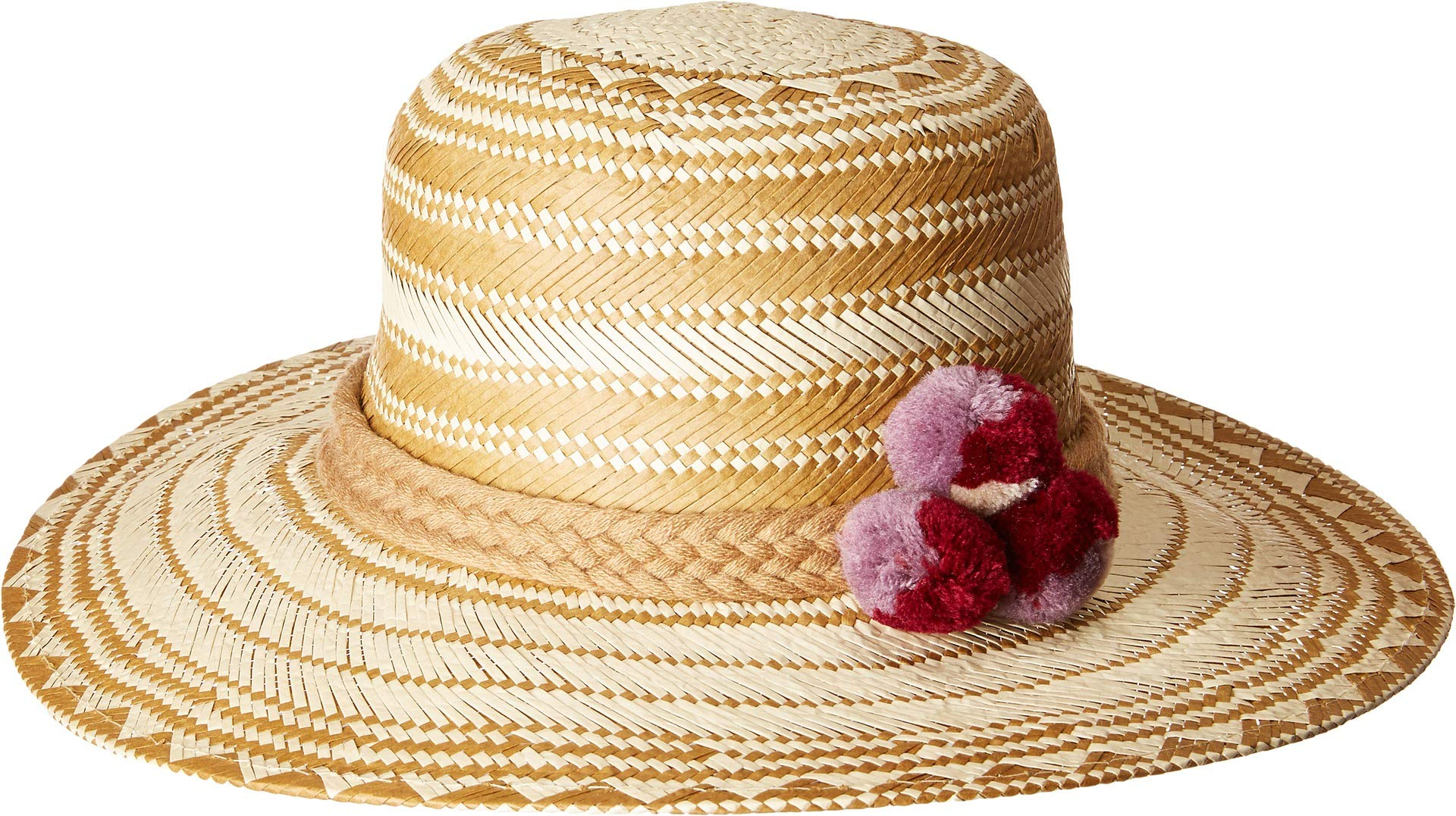 San Diego Hat Company Women's Triple Poms Woven Paper Bucket Hat, Natural, One Size