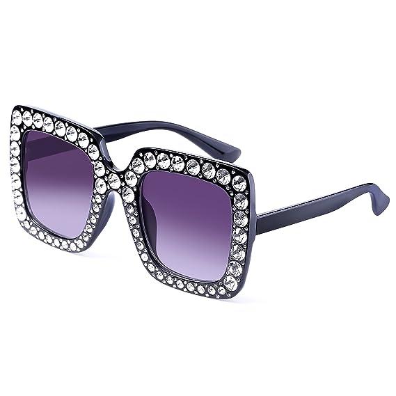 FEIRDIO Gafas de sol de cristal para mujer, cuadradas ...