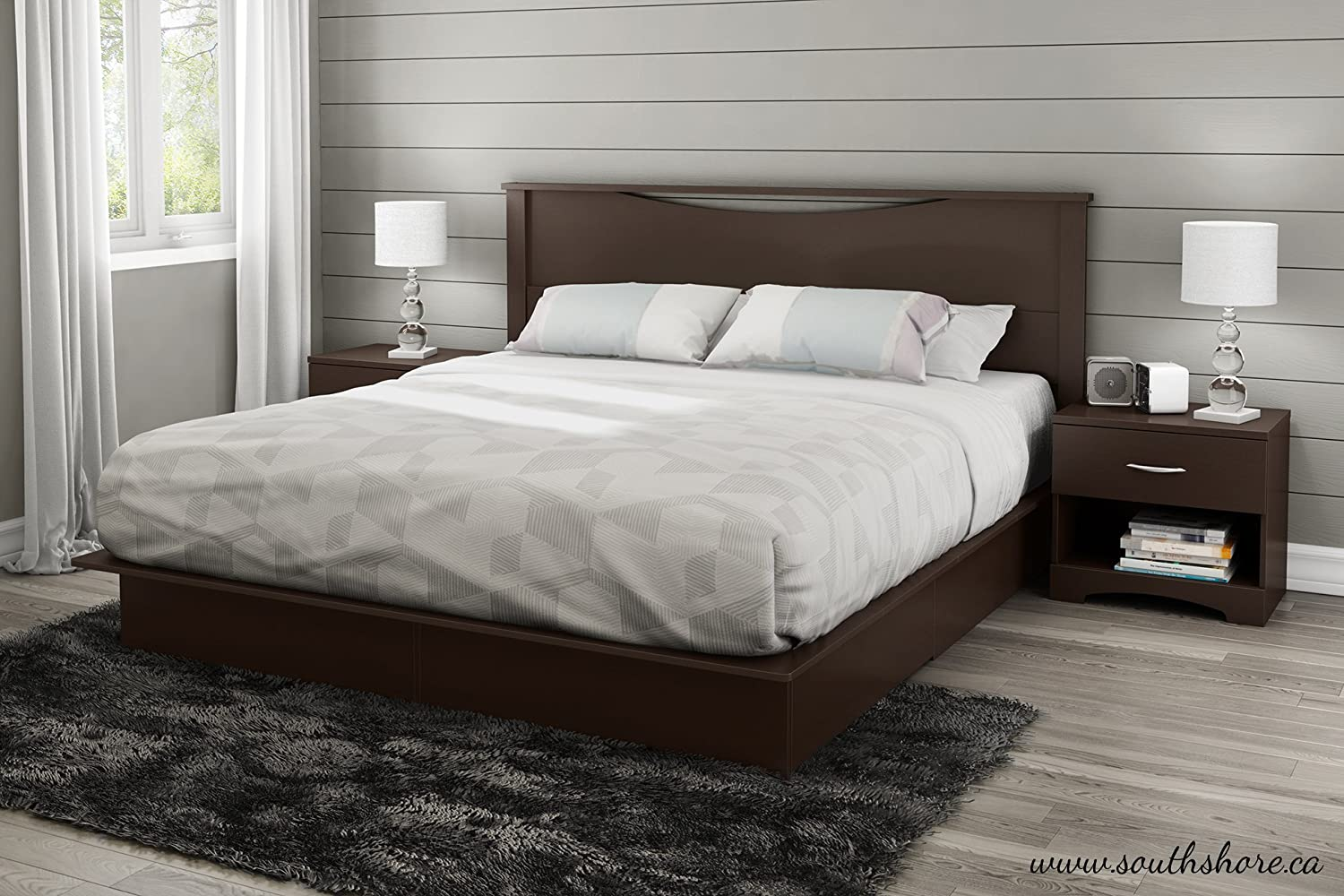 Amazon.com: South Shore Step One Platform Bed With Drawers, King,  Chocolate: Kitchen U0026 Dining