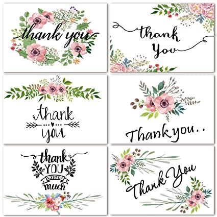 Amazon Com 48 Bulk Thank You Cards Floral Flower Thank You Notes