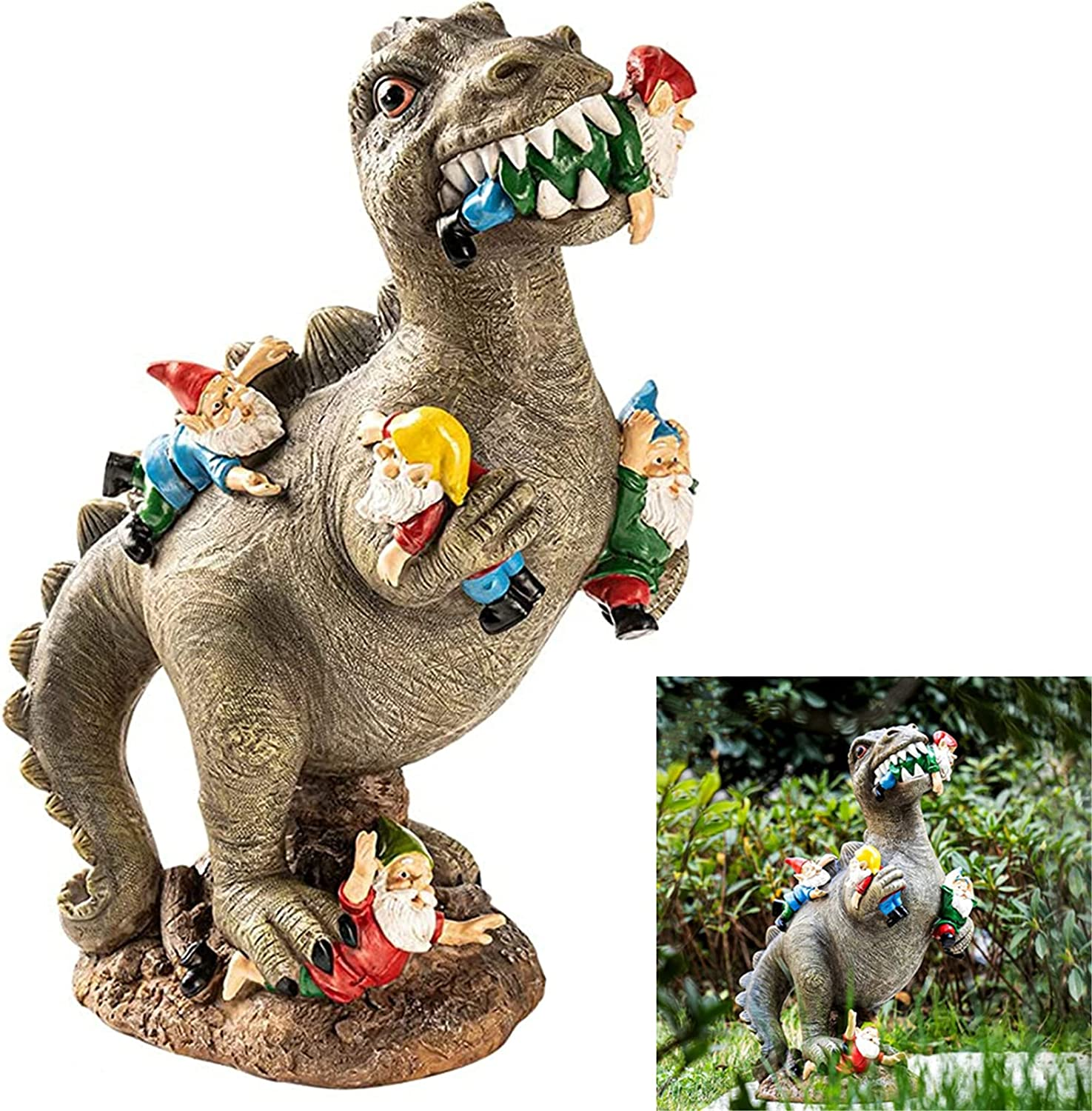 The Great Garden Gnome Massacre, Dinosaur Eating Gnomes Garden Art Outdoor Windproof Garden Decoration, Gnomes Garden Ornaments Funny Large, for Indoor Outdoor Home or Office (12in)