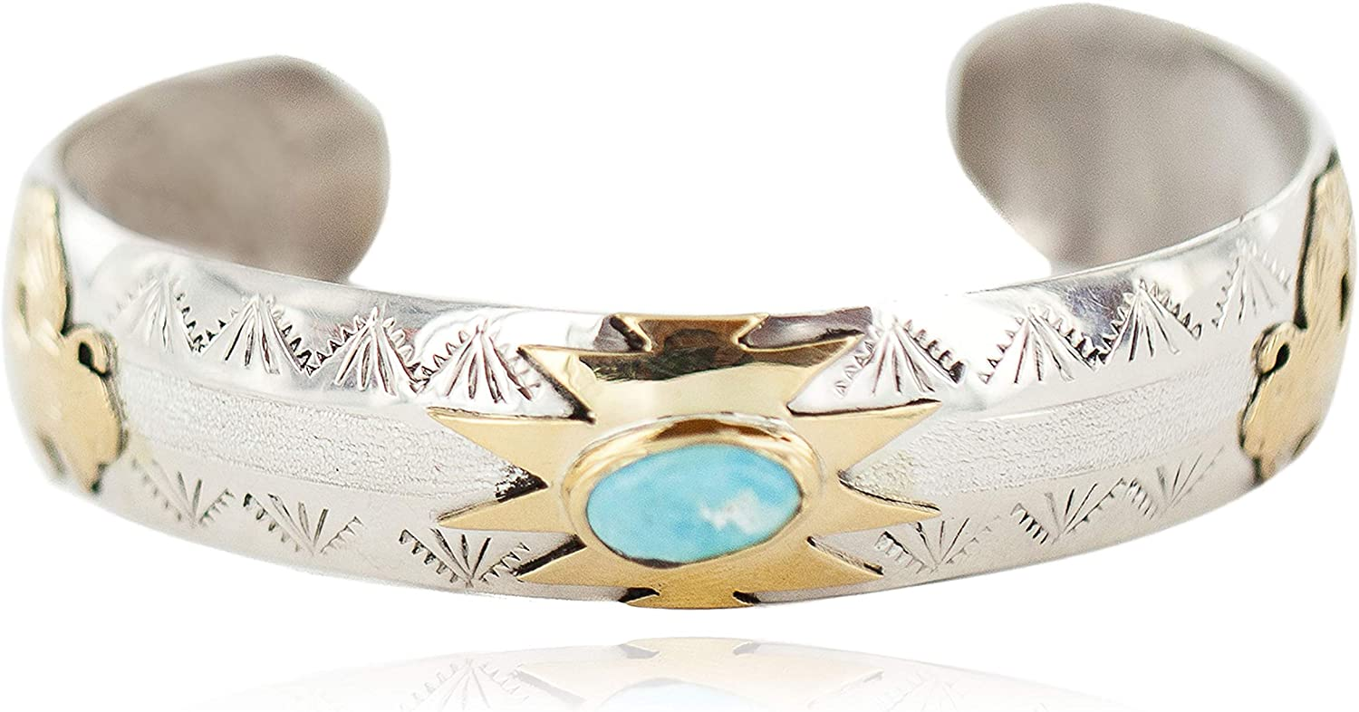 $510Tag 12Ktgf Silver Certified Buffalo Navajo Turquoise Native Bracelet 13094-4 gemacht durch Loma Siiva