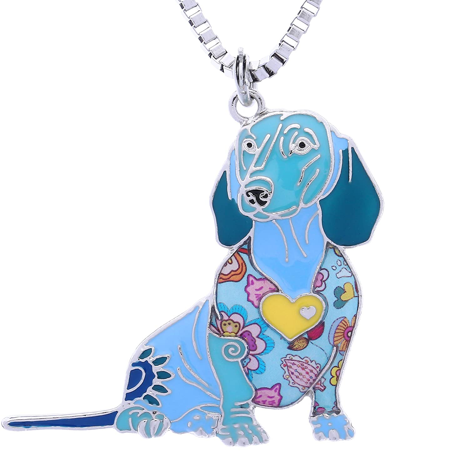 Luckeyui Novelty Dachshund Gifts Necklace for Women Personalized Dog Lovers Pets Pendants Jewelry LUCKY005-Blue