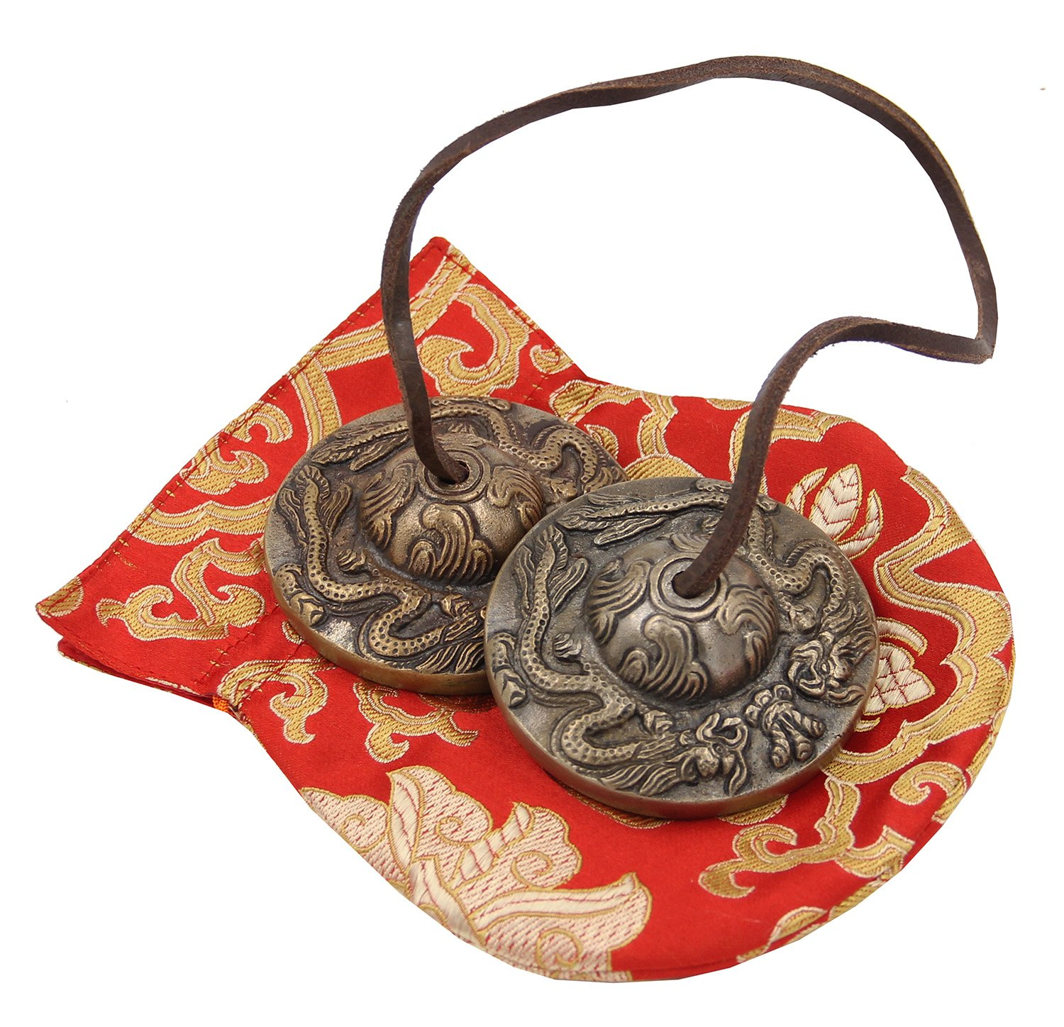DharmaObjects Large Tibetan Premium Quality Dragon Tingsha Cymbals 3 With Pouch Dha-0280
