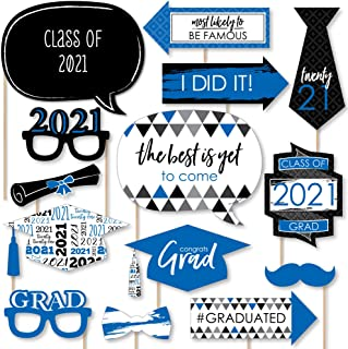 product image for Big Dot of Happiness Blue Grad - Best is Yet to Come - Royal Blue 2021 Graduation Party Photo Booth Props Kit - 20 Count