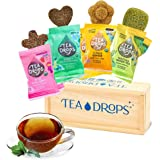 Tea Drops Party Pack of 8 Lightly Sweetened Loose Leaf Bagless Tea | On the Go Tea Assortment Including Matcha, Rose Earl Gre