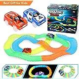 Cooljoy Auto Tracks Set mit 260 Stück Glühenden Universial Tracks (7CM) und 2 Rennwagen mit 5 LED Leuchten, Autorennbahn Racetrack Set Spielzeug/Geschenk für Kinder ab 3 Jahre alt