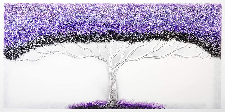 Cuadro Pintado Arbol de la Vida Lila, con Piedras Brillantes 140x70 cm