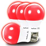 AmeriLuck Red Colored A19 LED Light Bulb, 60W Equivalent (7W), E26 Medium Scew Base, 2-Year Warranty (4 Pack)