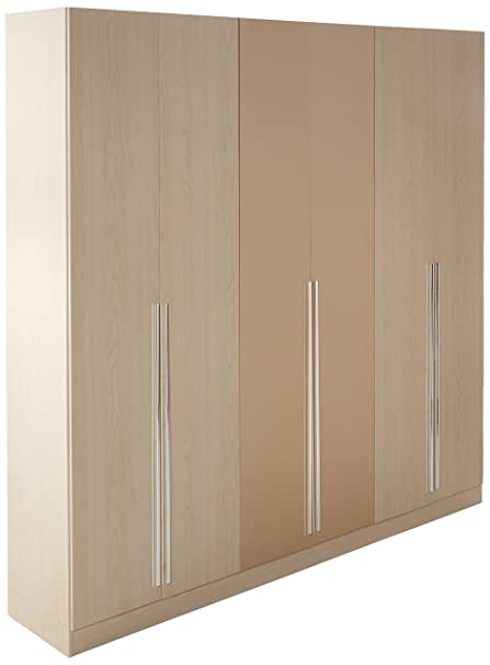 Beau Manhattan Comfort Eldridge Collection 6 Door Freestanding Wardrobe Closet  For Bedroom, Oak Vanilla And Nude