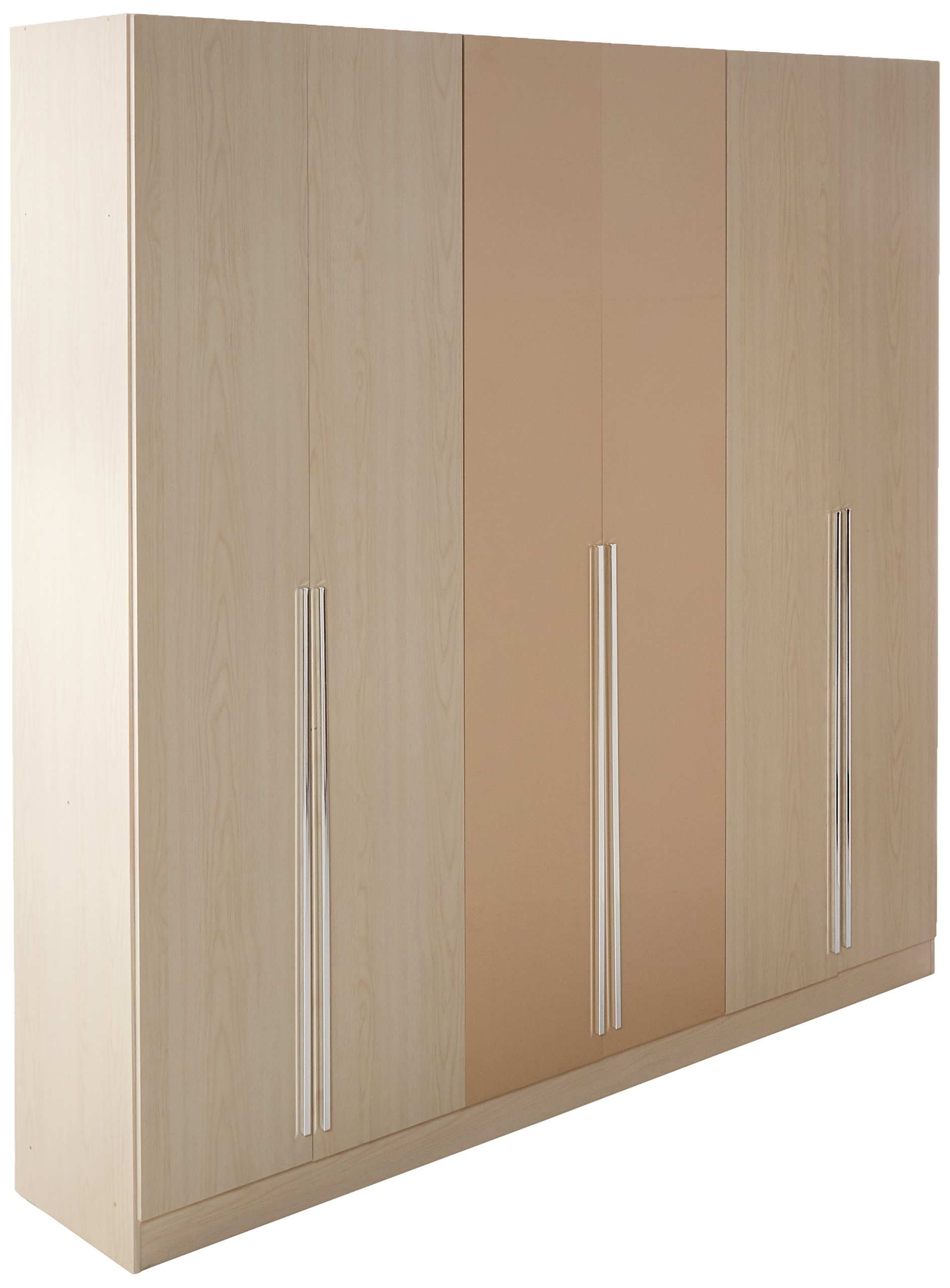 Manhattan Comfort Eldridge Collection 6 Door Freestanding Wardrobe Closet for Bedroom, Oak Vanilla and Nude