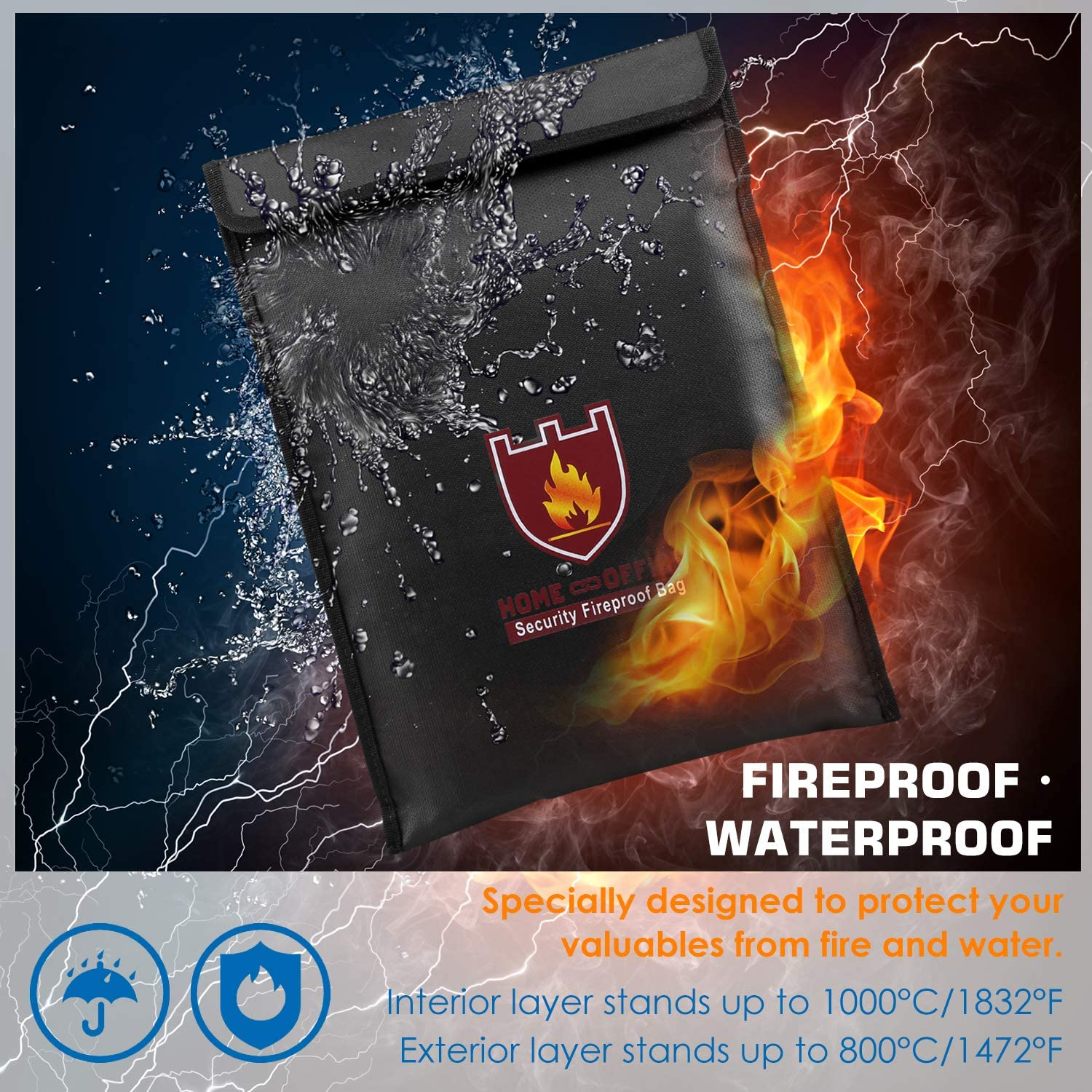 Documents Zipper Closure for Maximum Protection Money /& Envelope Waterproof Holder Jewelry Schwarz Protect Your Valuables 2 Pack Cash MoKo Fireproof Document Bag