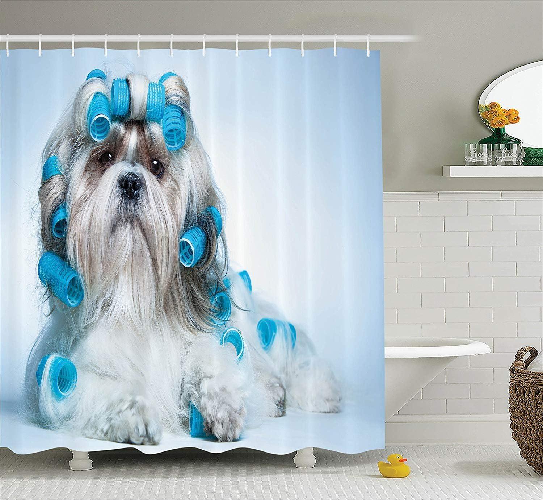 Nyngei Collection dameublement pour Chien Collection Shih Tzu Chien avec bigoudis Toilettage Coiffure Salon Vue de Face Gros Plan Prise de Vue en en Rideau de Extra-Long Bleu Beige
