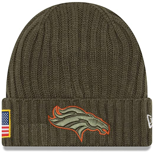 2bb8d94f0 New Era Men s Men s Broncos 2017 Salute to Service Cuffed Knit Hat Olive  Size One Size at Amazon Men s Clothing store