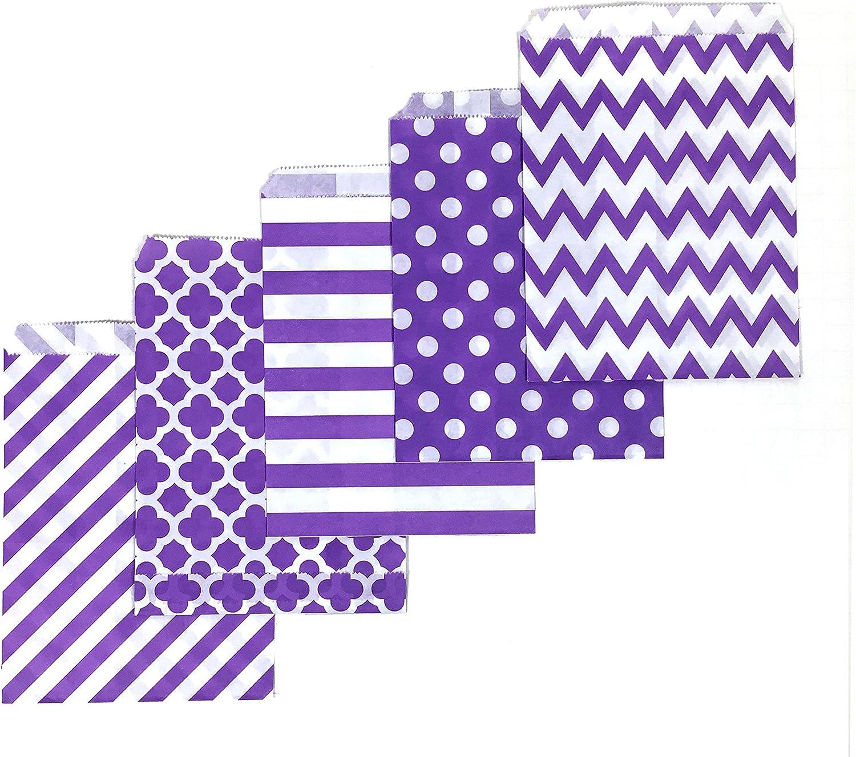 200 Counts Medium Purple Biodegradable, Food Safe Ink & Paper, Assorted Design Cookie Bag, Eco-Friendly Favor Bag, Treat Bag for Party (Medium, Purple)