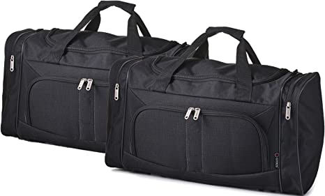 5 Cities Lightweight Hand Luggage Cabin Sized Sports Duffel Holdall Black 602