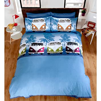Campervan Cityscape Bettwäsche Set Mit Vw Aufdruck King Size Blau