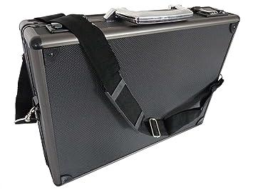 Maletín de aluminio para ordenador portátil, color negro o plateado, carcasa rígida de fijación a los golpes, para MacBooks y portátiles, compatible ...