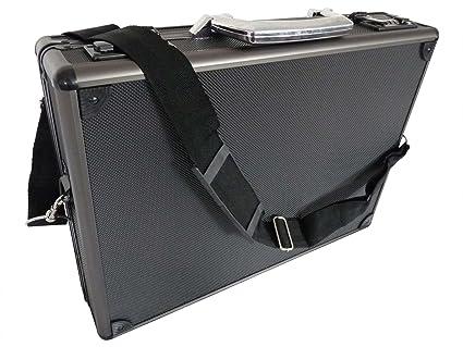 Maletín de aluminio para ordenador portátil, color negro o plateado, carcasa rígida de fijación a los ...