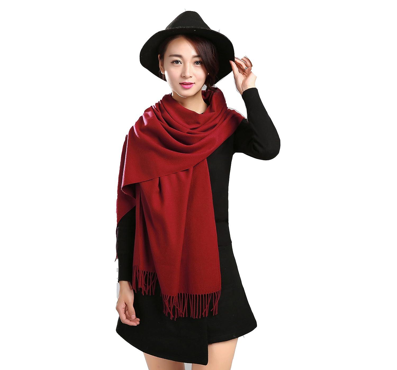 Jhua Women's Fashion Long Shawl Soft Cashmere Winter Scarf Pure Wool Scarf Large Warf
