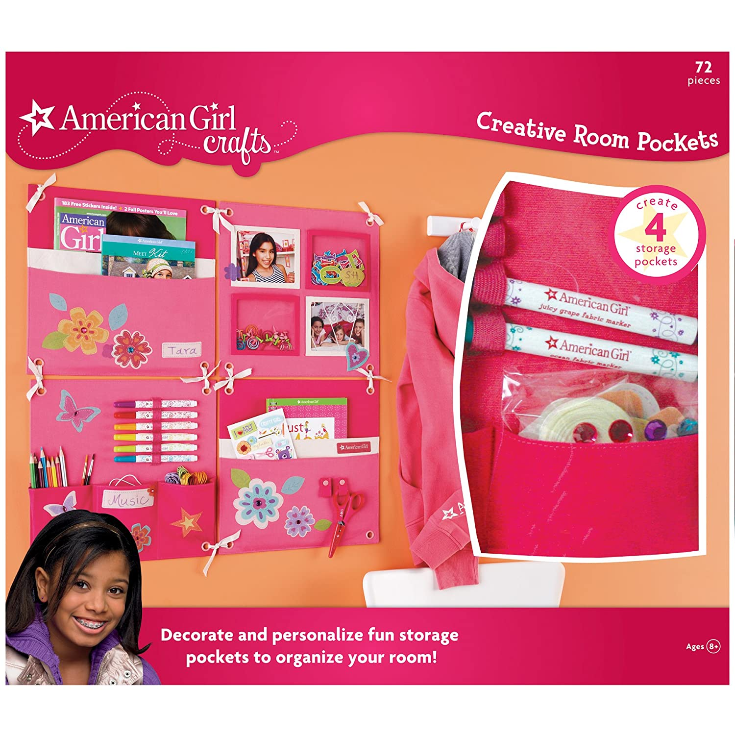 American Girl Crafts Girls Room Decoration and Organization Storage Pockets, 72pc