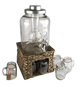 Artland Masonware Beverage Infusing Dispenser Jar Set with Stand, Seagrass, 3-Gallon, Clear