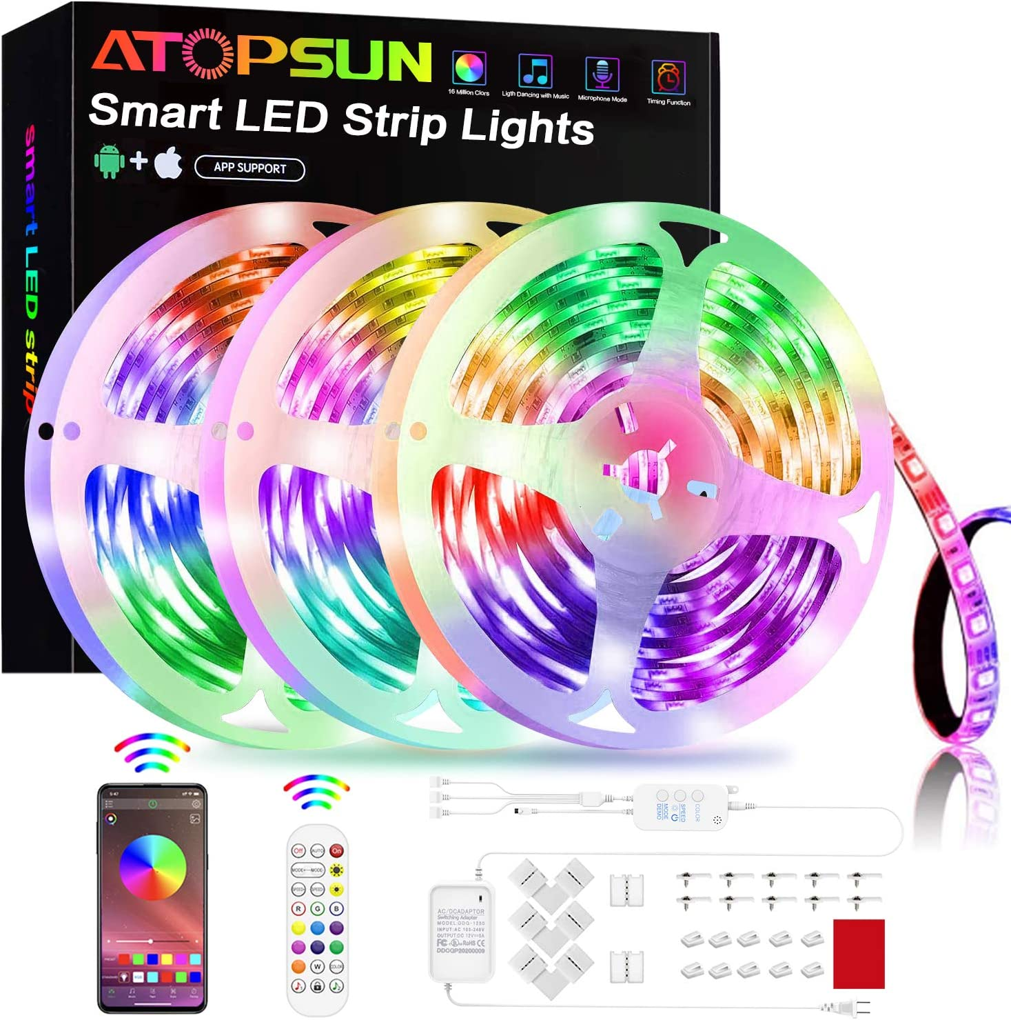 Sensitive Built-in Mic Bluetooth Controller for Home Bedroom Kitchen TV Party ATOPSUN Music Sync Color Changing 5050 RGB LED Light Strips Kit LED Strip Lights 50FT//15M App Control with Remote