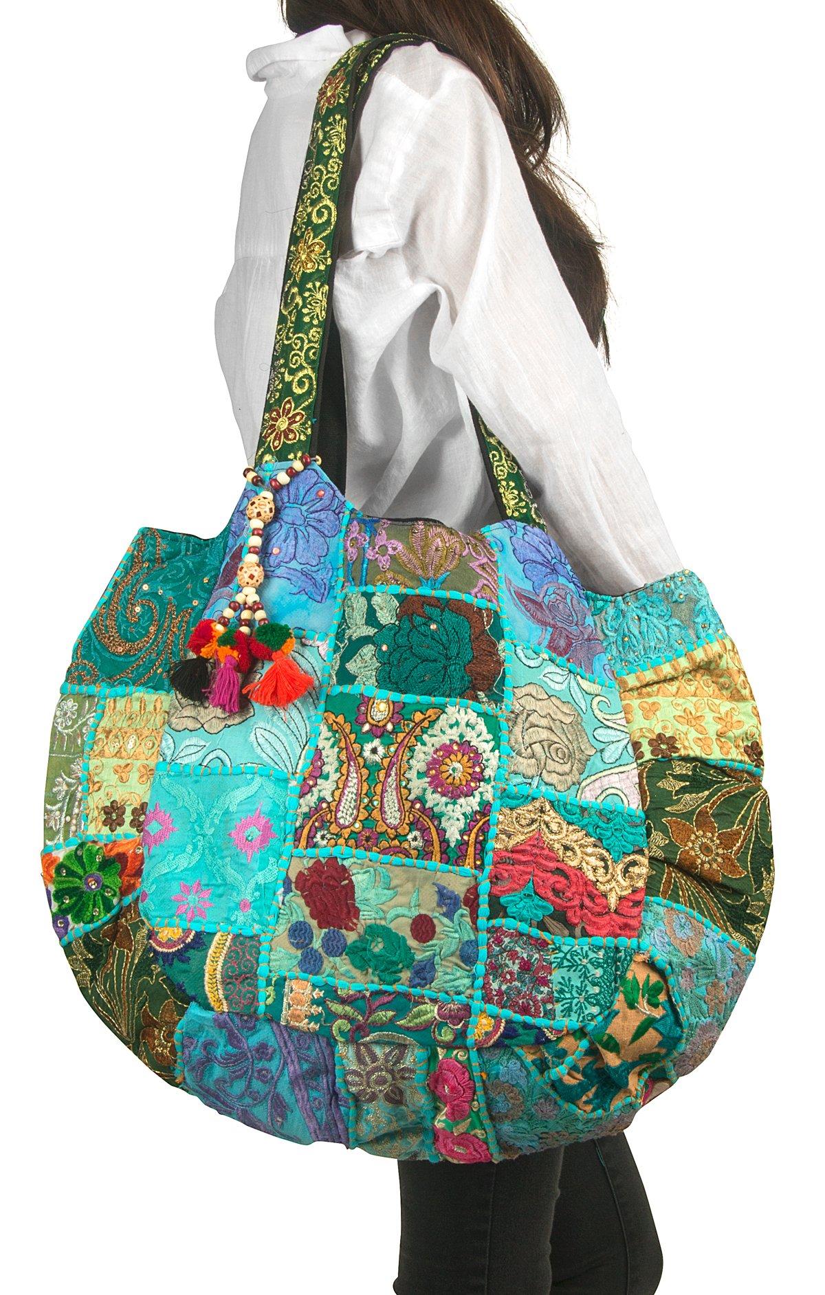 TribeAzure Large Oversize Blue Canvas Shoulder Bag Handbag Unique Tote Quilt Vintage Beach Travel Summer