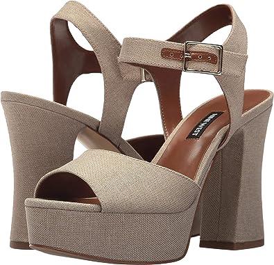 65de55f7489 Nine West Women s Wilmarie Platform Heel Sandal Natural Linen 8.5 ...