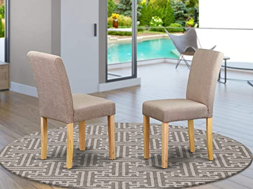East West Furniture ABP4B04 Parsons Chairs – Comfortable Light Fawn Linen Fabric, Hardwood Oak Finish Legs Modern Parsons Dining Room Chairs- Set of two