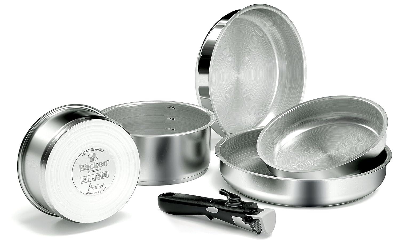 Edelstahl Profi 199906-set-Bratpfannen und casseroles-6/teilig f/ür alle Herde Induktion 28,5/x 28,5/x 13/cm Edelstahl