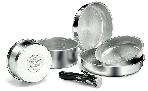 Backen 199906-set de sartenes y casseroles-6 Piezas Inducción, Acero Inoxidable, Acero Inoxidable, 28,5 x 28,5 x 13 cm: Amazon.es: Hogar