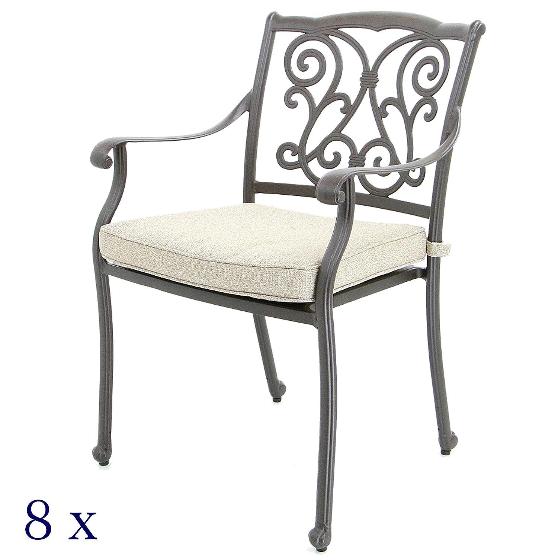 8 Gartenstühle, Aluguss - Rückenlehne Florales-Design (8er-Set)