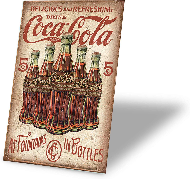 TINSIGNS Delicious and Refreshing Drink Coca Cola Retro Vintage Bar Signs 12 X 8 Inch