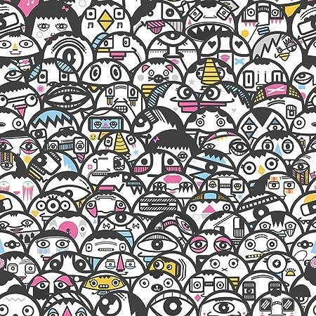 Alien Crowd Multi Coloured Wallpaper