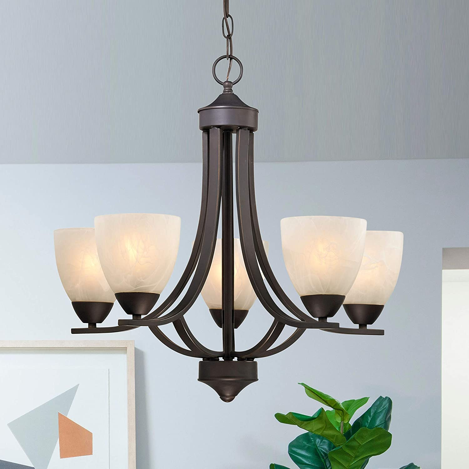 5 light chandelier with alabaster glass in bronze finish