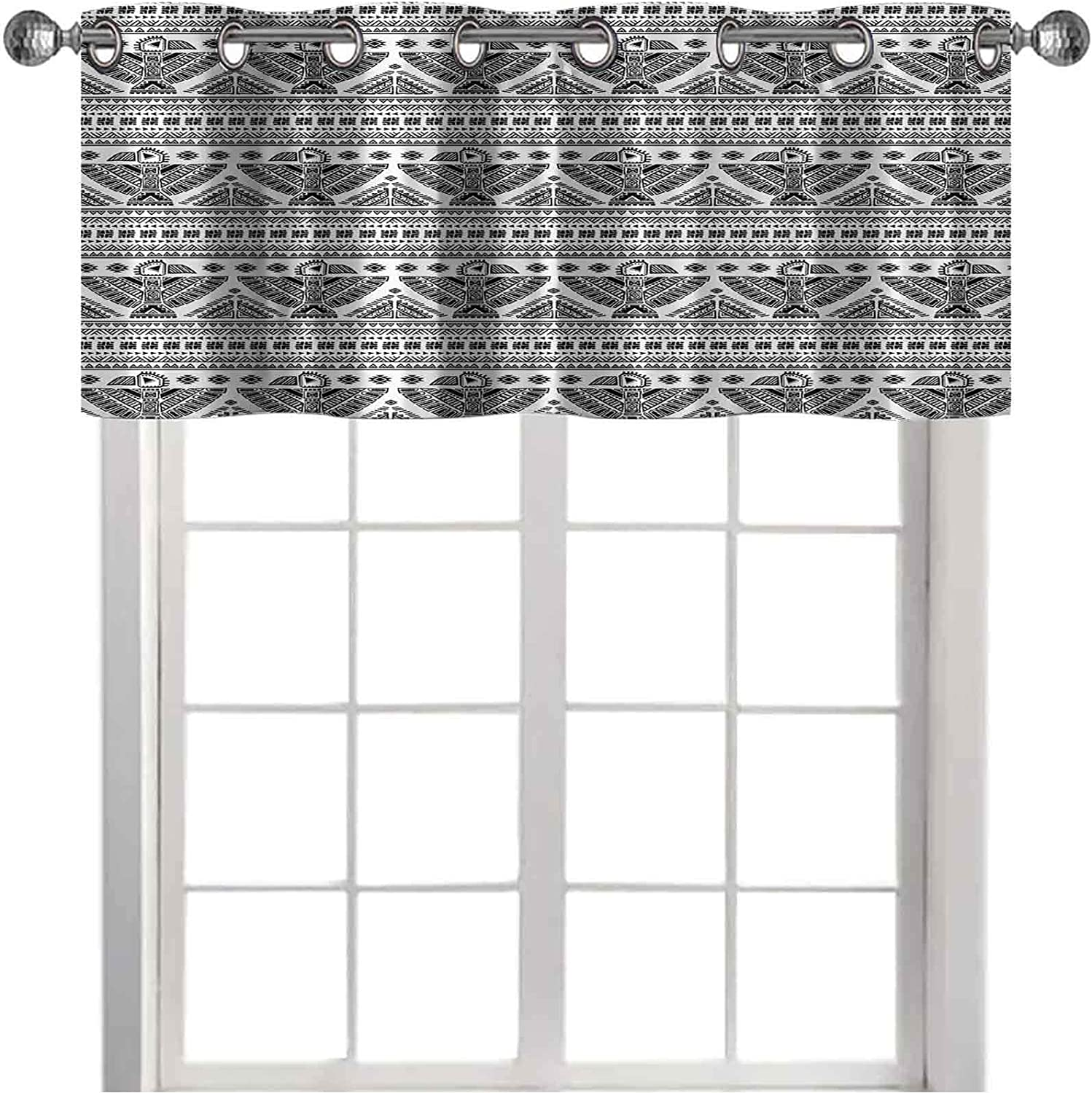 Thermal Insulated Window Curtain Valance Primitive Tribal Art Pattern with Eagle Symbol Mystic Culture Folk 50