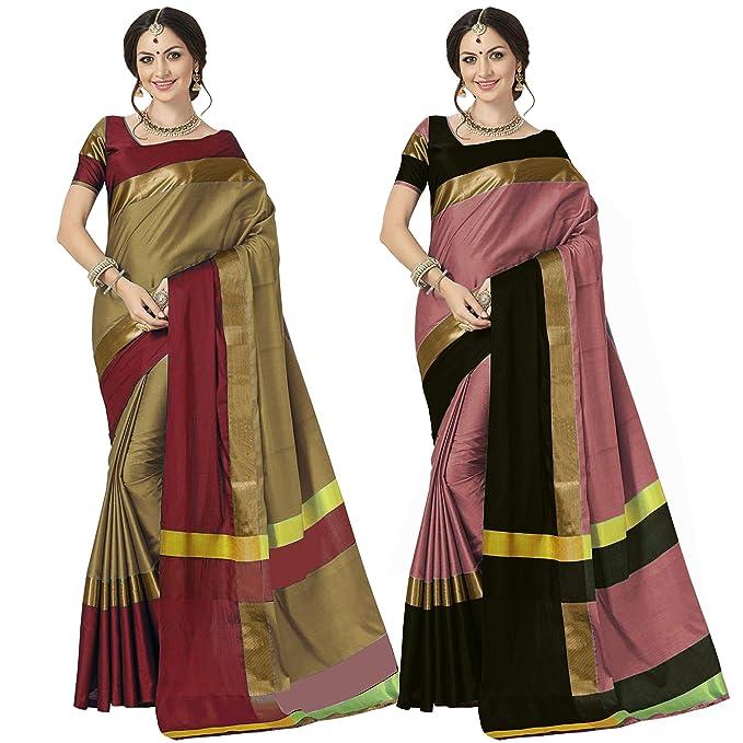 83cea0861e235 Art Decor Sarees Women s Multi Color Cotton Silk Saree with Blouse Piece-  Pack of 2