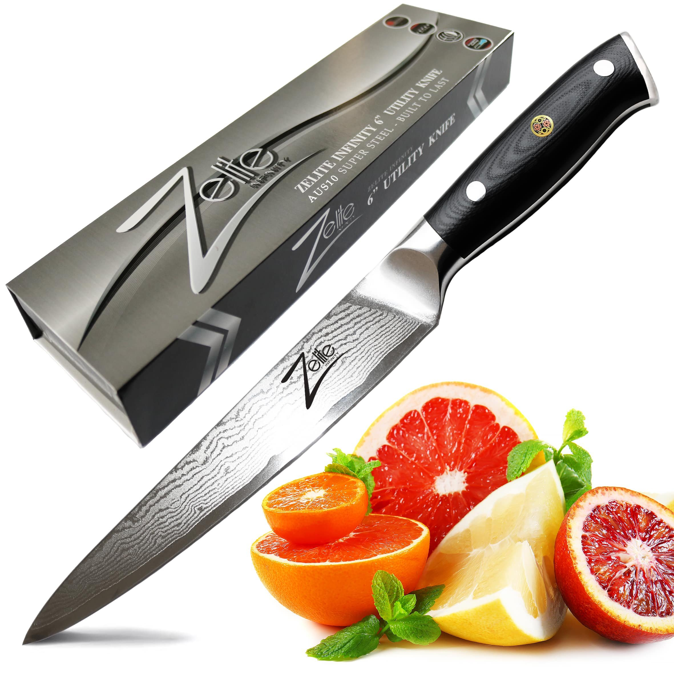 "ZELITE INFINITY Utility Knife 6"" - Alpha-Royal Series - Petty Knives - Best Quality Japanese AUS10 Super Steel 67 Layer High Carbon Stainless Steel - Razor Sharp, Superb Edge Retention Chef Blade by Zelite Infinity"