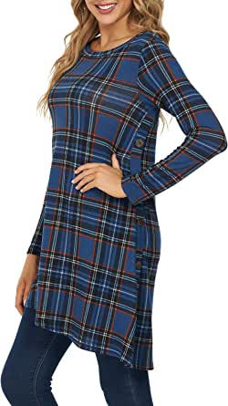 KORSIS Women's Long Sleeve Round Neck Button Side T Shirts Tunic Dress