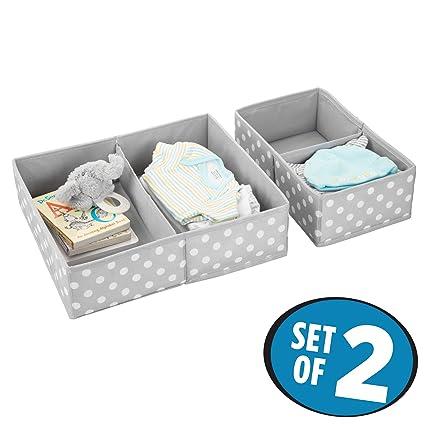 mDesign Juego de 2 cajas para guardar ropa – Práctico organizador de armario en 2 tamaños